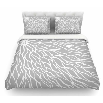 Swirls by NL Designs Wave Featherweight Duvet Cover Size: Queen, Color: Gray