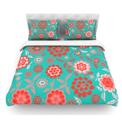 Cherry Floral by Nicole Ketchum Featherweight Duvet Cover Color: Aqua/Coral, Size: Queen