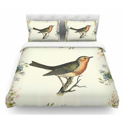 Vintage Bird 3 by NL Designs Featherweight Duvet Cover Size: Queen