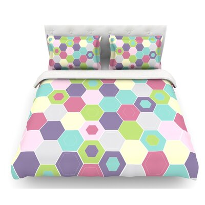 Pale Bee Hex. by Nicole Ketchum Featherweight Duvet Cover Size: Queen