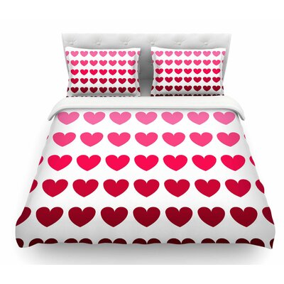 Rainbow Hearts by NL Designs Love Featherweight Duvet Cover Size: King, Color: Maroon/Pink