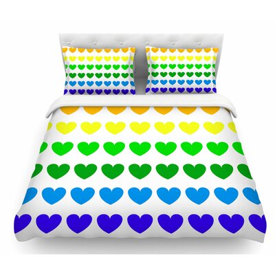 Rainbow Hearts by NL Designs Love Featherweight Duvet Cover Size: Twin, Color: Multi