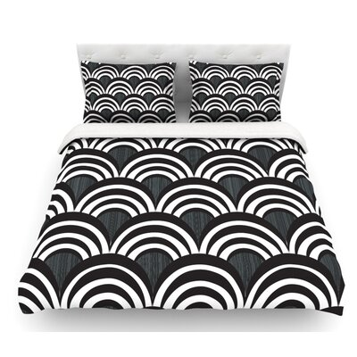 Art Deco Delight by Nicole Ketchum Featherweight Duvet Cover Color: Black/White, Size: King