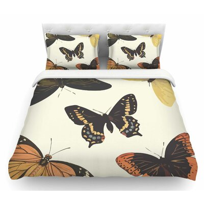 Vintage Butterflies by NL Designs Featherweight Duvet Cover Size: Twin