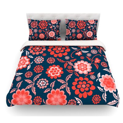 Cherry Floral by Nicole Ketchum Featherweight Duvet Cover Size: Queen, Color: Navy Blue/Coral