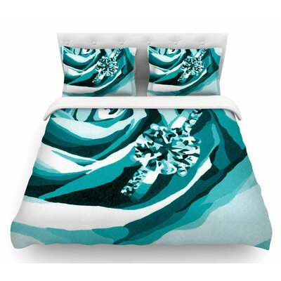 Happy Engagement by NL Designs Featherweight Duvet Cover Size: Queen, Color: White/Teal
