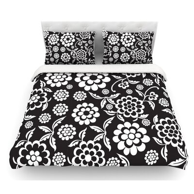 Cherry Floral by Nicole Ketchum Featherweight Duvet Cover Size: King, Color: Black/White