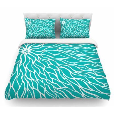 Swirls by NL Designs Wave Featherweight Duvet Cover Size: King, Color: Teal/White