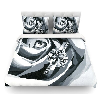 Happy Engagement by NL Designs Featherweight Duvet Cover Size: Twin, Color: Gray/White