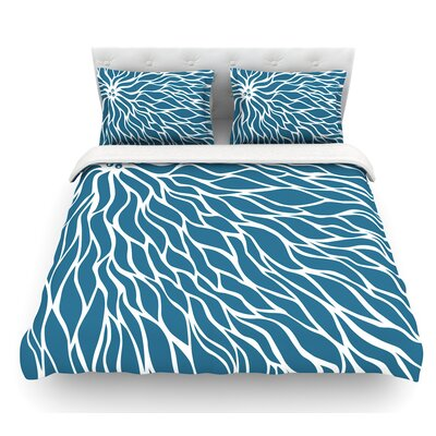 Swirls by NL Designs Wave Featherweight Duvet Cover Color: Blue/Teal, Size: King