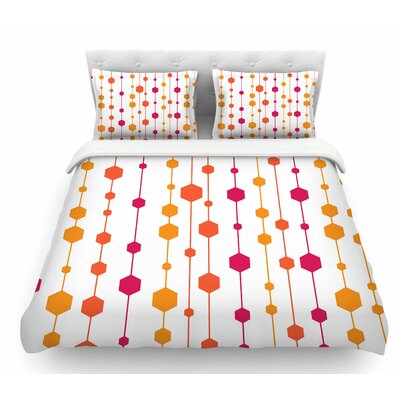 Dots by NL Designs Line Featherweight Duvet Cover Size: King, Color: Mustard/Peach/Pink