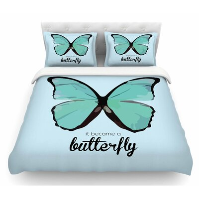 Butterfly by NL Designs Quote Featherweight Duvet Cover Size: Queen