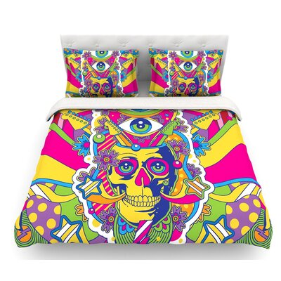 Skull by Roberlan Rainbow Illustration Featherweight Duvet Cover Size: King
