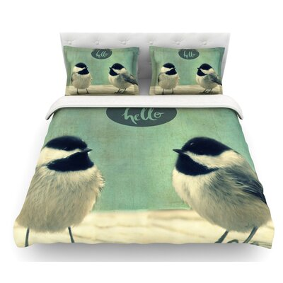 Hello Birds by Robin Dickinson Featherweight Duvet Cover Size: Queen