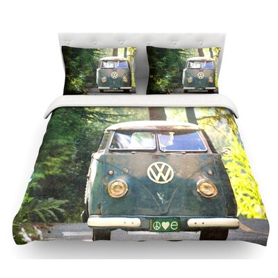 Peace Love Nature by Robin Dickinson Forest Featherweight Duvet Cover Size: King