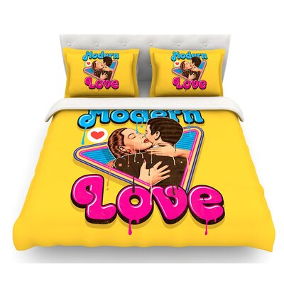 Modern Retro Love by Roberlan Neon Featherweight Duvet Cover Size: Twin