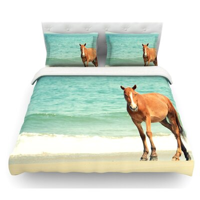 Wild Mustang of Carova by Robin Dickinson Horse Ocean Featherweight Duvet Cover Size: Queen