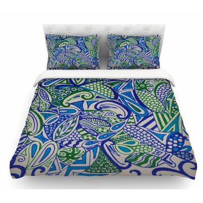 Zentangle by Rosie Brown Featherweight Duvet Cover Size: Queen