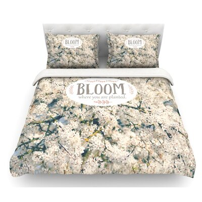 Bloom Where You are Planted by Robin Dickinson Floral Featherweight Duvet Cover Size: Queen