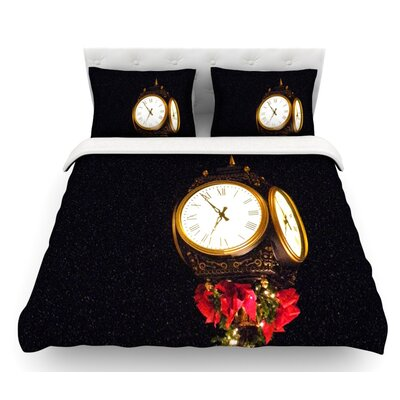 Xmas Clock by Robin Dickinson Seasonal Featherweight Duvet Cover Size: Queen