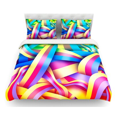 Medal by Roberlan Rainbow Lines Featherweight Duvet Cover Size: Queen
