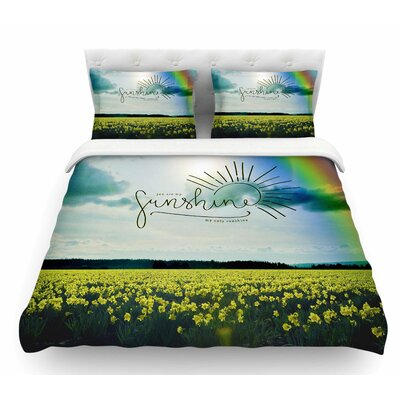You are My Sunshine, Rainbow by Robin Dickinson Featherweight Duvet Cover Size: King