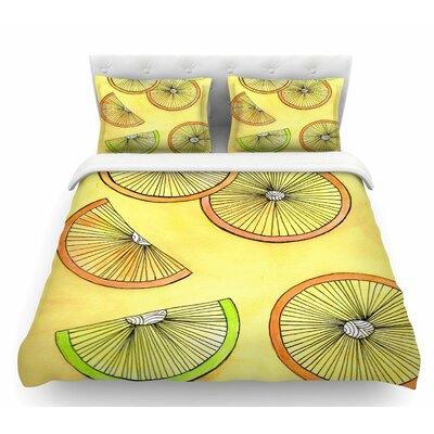 Lemons and Limes by Rosie Brown Fruit Featherweight Duvet Cover Size: King
