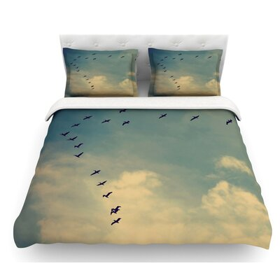 Pterodactyls by Robin Dickinson Featherweight Duvet Cover Size: Queen