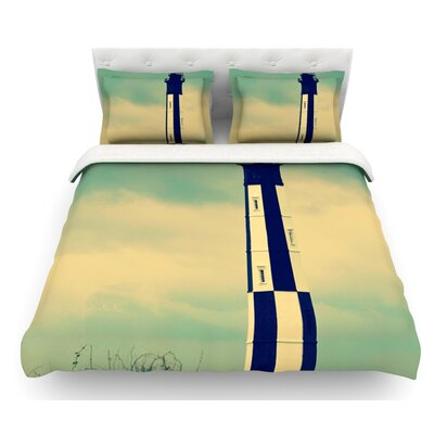 New Cape Henry by Robin Dickinson Lighthouse Featherweight Duvet Cover Size: Twin