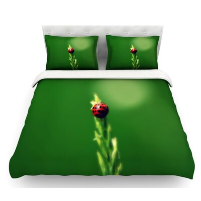 Ladybug Hugs by Robin Dickinson Featherweight Duvet Cover Size: King