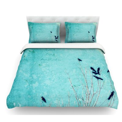 Love One Another by Robin Dickinson Birds Featherweight Duvet Cover Size: Twin