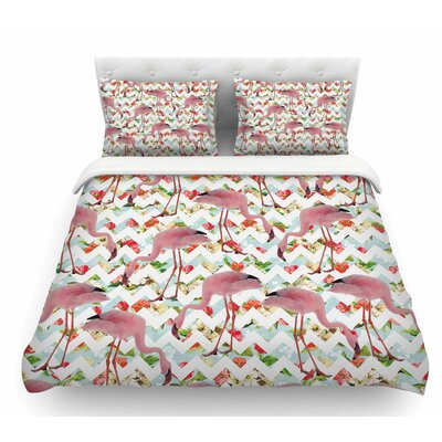 Flamingo Chevron and Roses by Suzanne Carter Digital Featherweight Duvet Cover Size: Twin