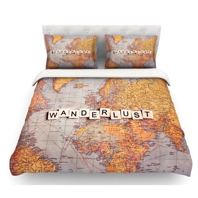 Wanderlust Map by Sylvia Cook World Featherweight Duvet Cover Size: Queen