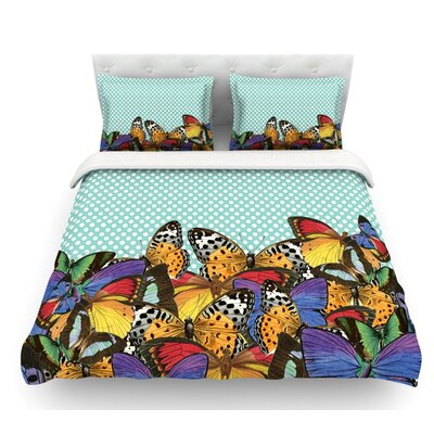 Butterfly by Suzanne Carter Featherweight Duvet Cover Color: Teal/Multi, Size: King