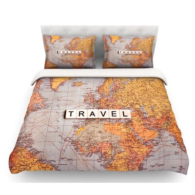 Travel Map by Sylvia Cook World Featherweight Duvet Cover Size: King