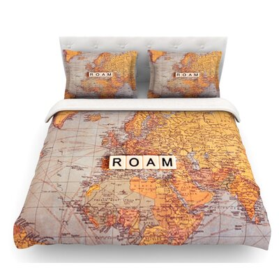 Roam Map by Sylvia Cook World Featherweight Duvet Cover Size: Queen