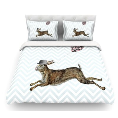 Hare Today by Suzanne Carter Rabbit Featherweight Duvet Cover Size: Queen