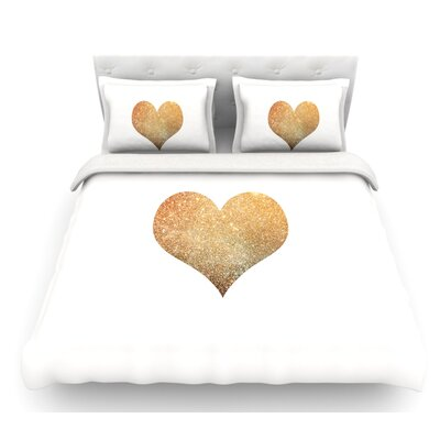 Gold Heart by Suzanne Carter Glam Featherweight Duvet Cover Size: King