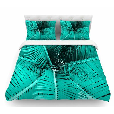 Palm by Suzanne Carter Featherweight Duvet Cover Size: King, Color: Teal/Black/Aqua
