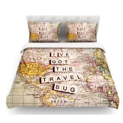 Travel Bug by Sylvia Cook Map Featherweight Duvet Cover Size: Queen