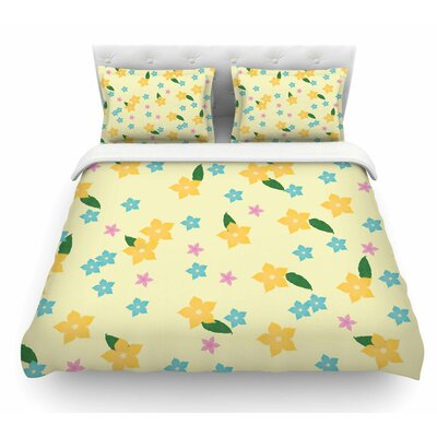 Tropical Flowers by NL Designs Featherweight Duvet Cover Size: Queen