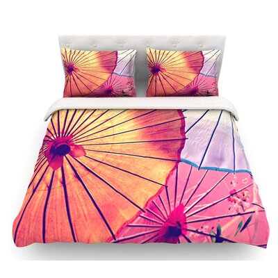 Colorful Umbrellas by Sylvia Cook Featherweight Duvet Cover Size: Queen