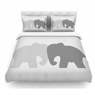 Elephant Love by NL Designs Featherweight Duvet Cover Size: King