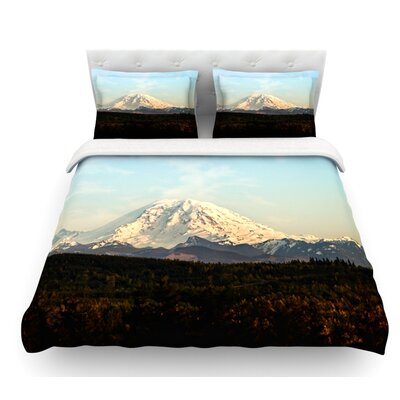 Mt. Rainier by Sylvia Cook Mountain Photo Featherweight Duvet Cover Size: Queen