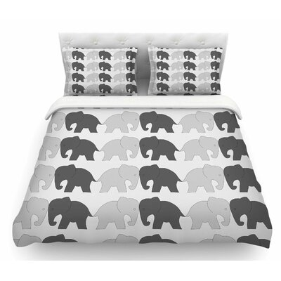 Elephants on Parade by NL Designs Animals Featherweight Duvet Cover Size: Queen
