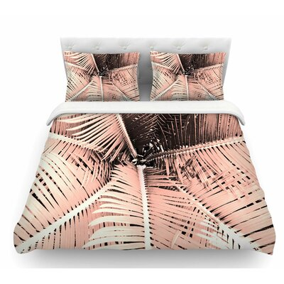 Palm by Suzanne Carter Featherweight Duvet Cover Color: Pink/Black, Size: Queen