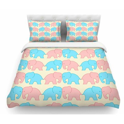Pastel Elephants on Parade by NL Designs Pastel Animals Featherweight Duvet Cover Size: Queen