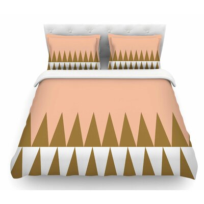 Peach Geo by Suzanne Carter Featherweight Duvet Cover Size: King