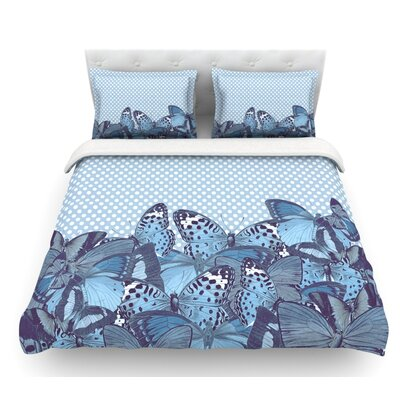 Butterfly by Suzanne Carter Featherweight Duvet Cover Size: King, Color: Aqua/Blue