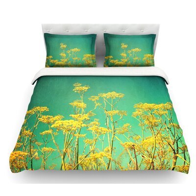 Flowers by Sylvia Cook Sky Featherweight Duvet Cover Size: King